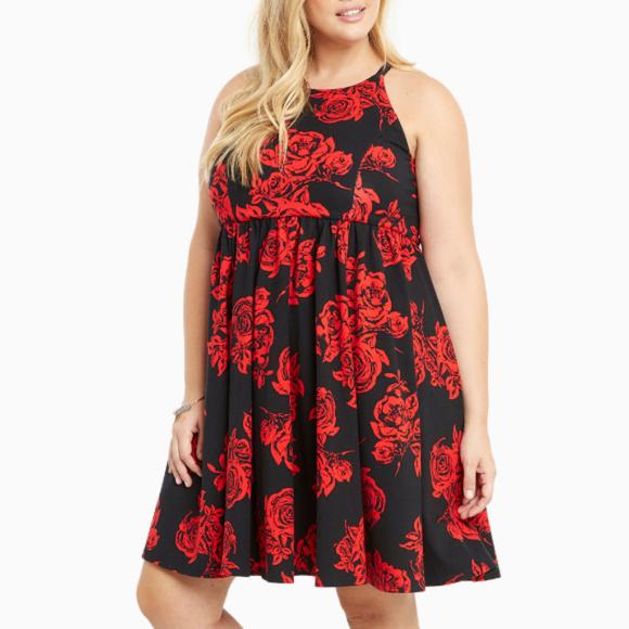 3e4829a0979 Torrid Floral Ponte High Neck Skater Dress Size 16